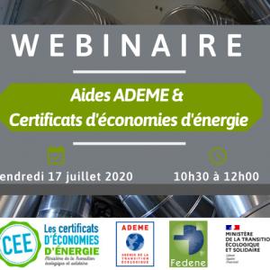 [WEBINAIRE] Aides ADEME et Certificats d'économies d'énergie (CEE) @ Visio-conférence